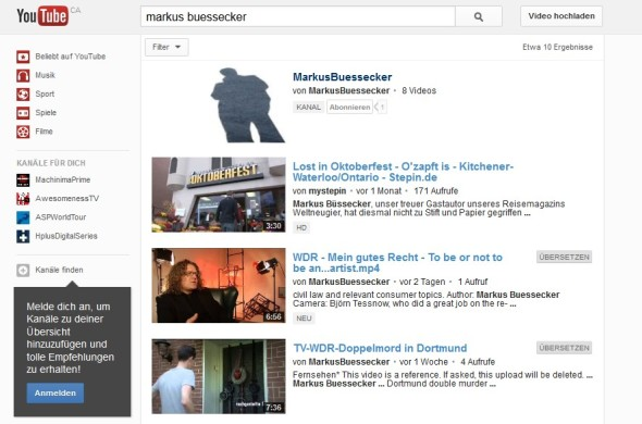 MarkusBuessecker - YouTube Channel